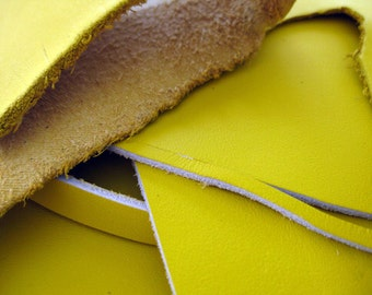 Leather scrap - half pound - Lemon Yellow