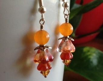 Carnelian, Czech Glass Flower and Swarovski Crystal Earrings
