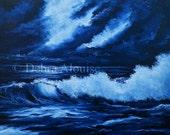 Moonlight Seascape Waves Ocean Water Original Oil Painting Midnight Storm
