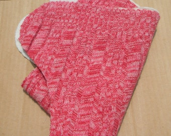 Nifty Nappy One Size Woolie Wrap Cloth Diaper Covers Red and White Varigated Cables/Ribbing