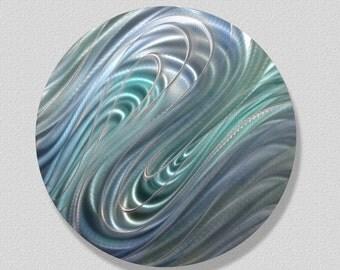 Cool Blue Round Metal Wall Accent - Abstract Metal Art - Circle Handmade Home Decor - Modern Metallic Sculpture - Mesmerize by Jon Allen