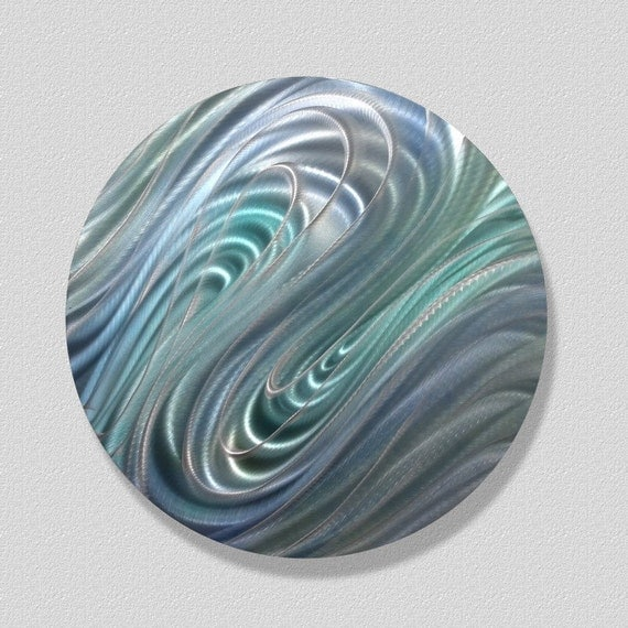 Cool blue round metal wall accent abstract metal art for Circle wall art