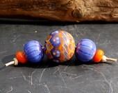 "M a r i e k U n i e k  Lampwork beads <5> ""Baticbeads yellow, orange and blue"""