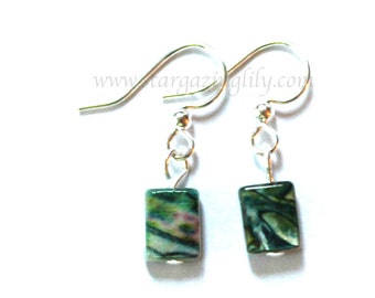 Green Shell earrings. Petite small light weight on hypoallergenic silver plated surgical steel hooks