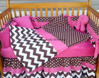 Custom made 7 piece Brown and White POLKA DOT and CHEVRON Crib Bedding Set w/ hot pink minky dot fabric