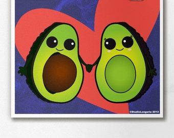 Avocado Couple Wall Art Print