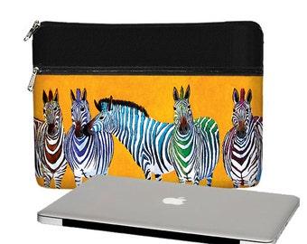 Clara Nilles 13 inch Laptop Sleeve / Macbook Pro 13 Case / 13 Macbook Air Bag / Macbook Pro Retina Case Zebra Stripes orange black RTS