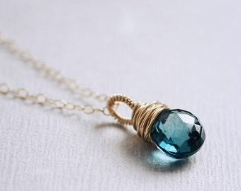 London BLUE TOPAZ heart briolette 14K goldfilled necklace - Wrapture