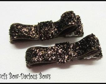 Set of 2 Brown Glitter Hair Clips, Glitter Hair Clips, no-slip clips, toddler girl hair clips, baby girl clips, international shipping