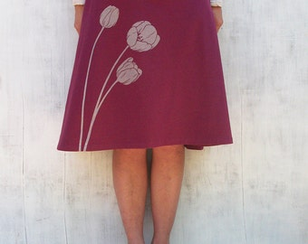 Organic Jersey Knit Skirt- Knee Length Skirt for Women - Stretchy Wine Skirt- A Line Floral Skirt- Comfy Spandex Skirt - Graphic Skirt