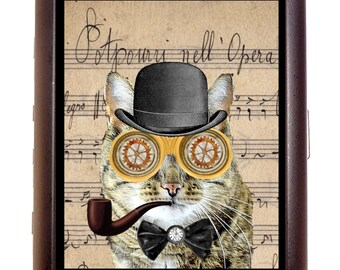 Steampunk Cat Man Cigarette Case Wallet Business Card Case Sweetheartsinner