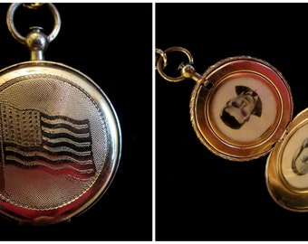 Land of the Free - Vintage Patriotic Coro Pocket Watch Style Locket Necklace