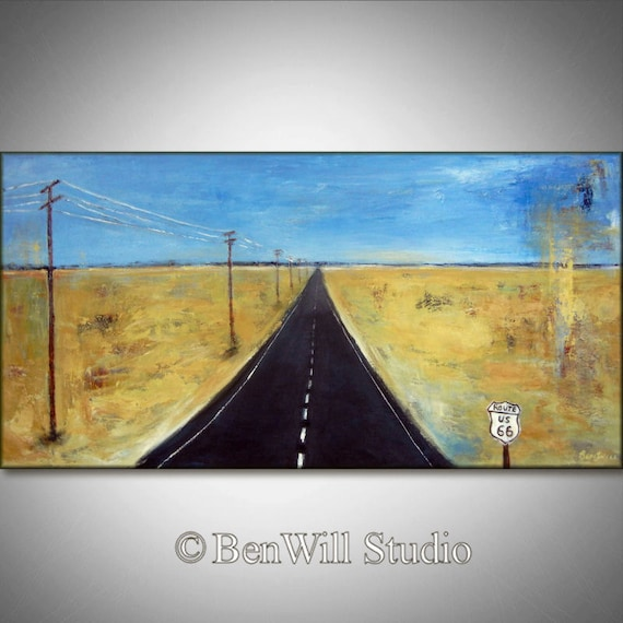 ROUTE 66 HIGHWAY - Large Abstract Modern Landscape Oil Painting ORIGINAL Southwestern Art 48x24 by BenWill