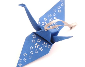 Silver Cherry Blossoms on Steel Blue Handpainted Origami Crane Ornament Home Decor