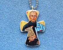 St. Maxilimilian Kolbe Handmade Catholic Resin Crucifix Necklace Pendant MK2