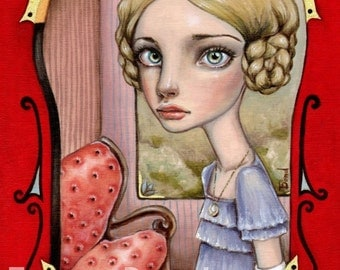 VOYAGE - surreal pop lowbrow fantasy art - 5x7 print of an original painting by Tanya Bond - Victorian lady in a carriage