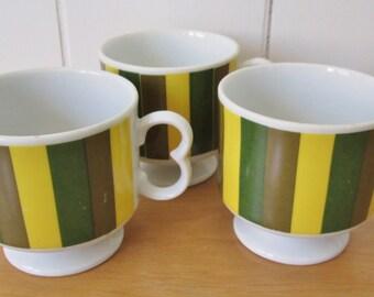 3 vintage green striped mugs