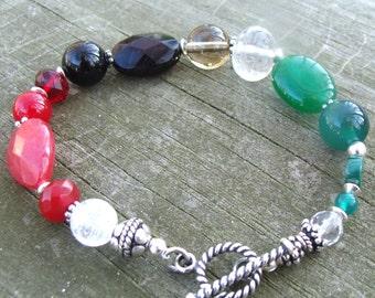 Christmas Bracelet - Sterling Silver with Jade, Quartz, Onyx, Malachite, etc