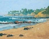 Golden Shores - 11 x 14 Inch Original Oil Painting of Beach Bluffs - Laguna Beach Painting - Living Room Art - Wall Decor