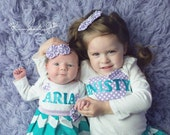 BOUTIQUE ..Chevron and polka dots ..SISTER Set...with monogrammed infant layette in teal chevron and matching monogrammed sister OUTFIT