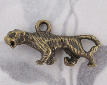 3 pcs. casted brass tiger charms 27x9mm - f2931