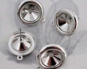 10 pcs. (5 pair) silver tone 10mm rivoli rhinestone settings earring findings - f4053