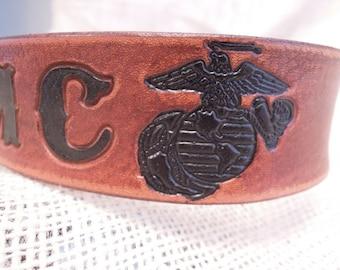 Leather Dog Collar - USMC - Dog Collar - Marine