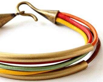 Leather Bangle Bracelet, wrap bracelet, brass tube bracelet, holiday gift