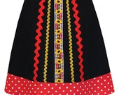 black eyed susan skirt - with red polkadot hem, vintage embroidered gingham trim and ric rac