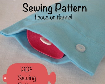 Hot Water Bottle Cover PDF Sewing Pattern for Fleece or Flannel, fits traditional or Fashy bottles
