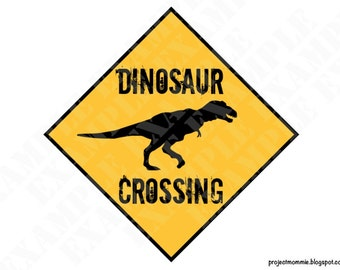 PDF: Dinosaur Crossing Sign - Themed Dinosaur Crossing Sign Party Warning Caution Zone Paleo Caveman silhouette
