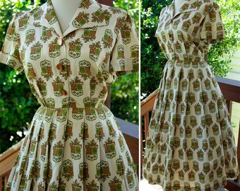 Coat of ARMS 1960's 50's Vintage Light Gray Olive and Brown FULL Day Dress with Button Front size Small