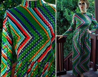 "STUDIO 54 Vintage 1970's 60's Metallic Zigzag Striped MAXI Dress in Green Blue Red by Mr. ""B"" size Small"