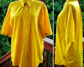 DIJON Mustard 1960's Men's Vintage Bright Yellow Button Down Shirt with Short Sleeves size Large XL by KENNINGTON