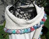 Women's hand knit shawl, pashmina shawl, triangle shawl, spring summer shawl, tasseled shawl, fringed shawl in tan heather with tassels
