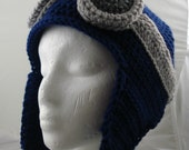 Crocheted Aviator's Helmet in Dark Blue with Silver Rimmed Goggles
