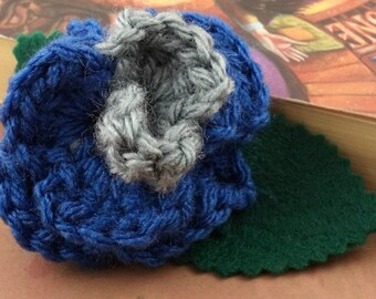 Crocheted Rose Barrette - Blue and Gray (SWG-HB-HWRA02)