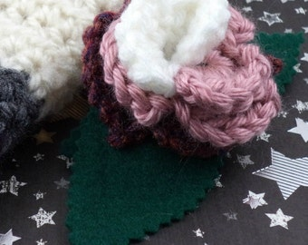 Romana - Crocheted Rose Barrette - White, Pink, and Dark Rose (SWG-HB-DWRO01)