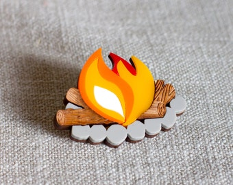 Camp Fire Brooch - camping brooch - fire brooch - great outdoors brooch - camp fire jewellery - camping jewellery - camping jewelry