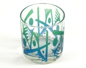 Abstracts Lowball DOF Tumbler Glass - Etched and Painted Glassware - Custom Made to Order Barware