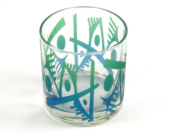 Abstracts - Lowball Tumbler Glass - Inlaid Style - Etched and Painted Glassware - Custom Made to Order