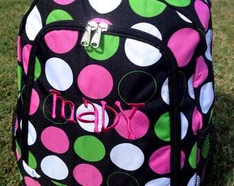 Big Dots Backpack Includes Monogrammed Name or Initials of Your Choice