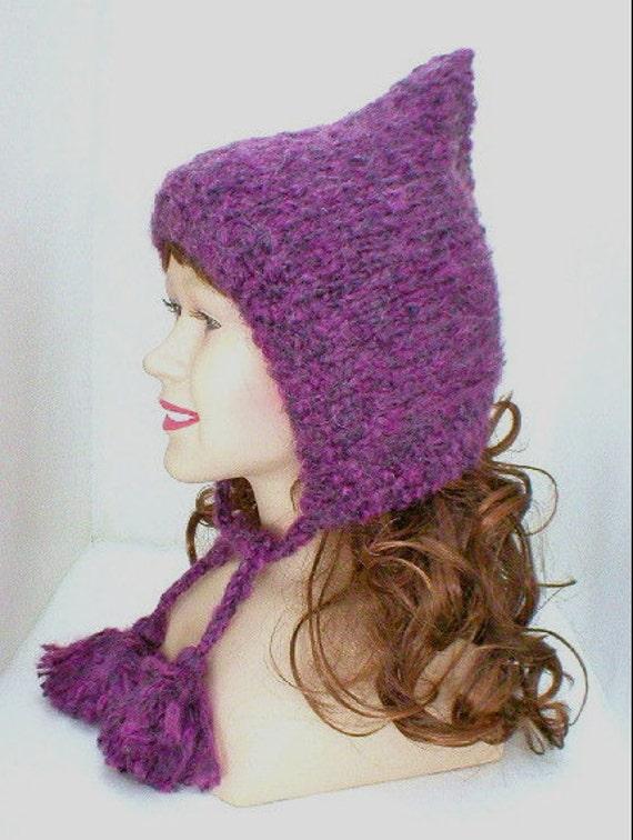 Purple fairy hood, amethyst, grape, mohair blend knit hat, pixie hat, women's hat, knit fairy hood, ear flap hat, chemo cap, winter hat