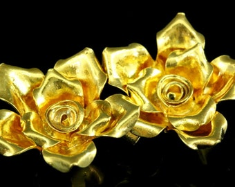 KG-557 Thai karen hill tribes handmade silver 1 gold vermeil large wild rose charm