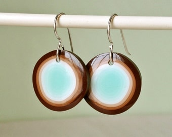 Earrings - Chocolate mint dots