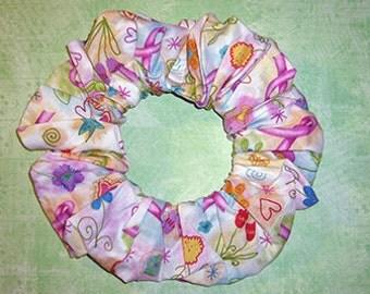 Cancer Awareness Hair Scrunchie, Special Interest Ponytail Holder, Themed Hair Tie, Joy