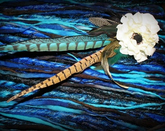SALE 25% OFF!!! Dreadfalls Extensions Turquoise Blue Black Feathers