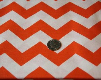 """7/8"""" wide CHEVRON fabric - Marshall Dry Goods Fabric - One Yard - Orange and White"""