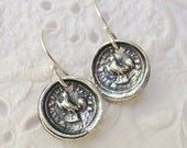 """Rooster Wax Seal Earrings - Symbolic Jewelry, Courage, Vigilance, Protection and Perseverance ,""""While I live I'll Crow"""""""