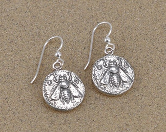 Ephesus Bee Coin Earrings - Sterling Silver with French Hooks - Lost Wax Cast